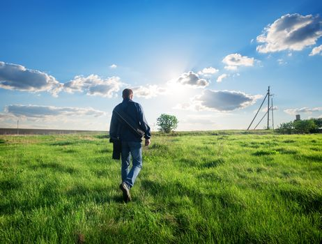 Man walking on the field