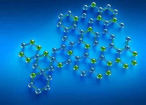 science illustration of abstract molecule on blue background. 3D chemistry concept