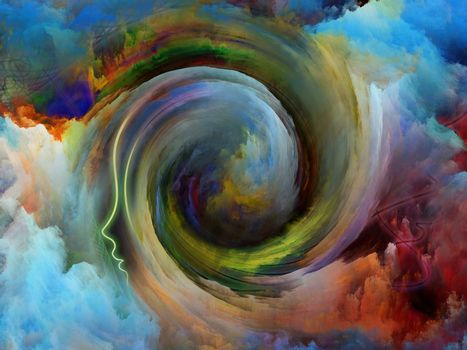 Internal Recurrence series. Interplay of human profile and fractal colors on the subject of inner reality, mental health, imagination, thinking and dreaming