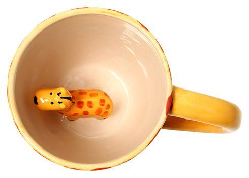Adorable Giraffe Coffee Mug Top View Ceramic Painted Giraffe Iso