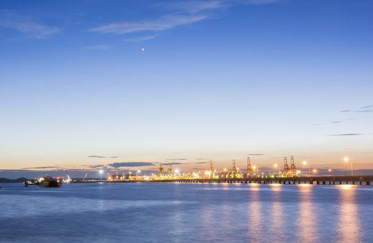 Commercial docks at sunset