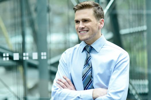 Smiling young business executive
