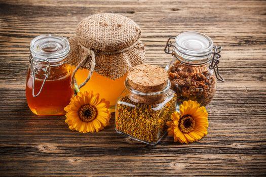 Honey, pollen and propolis