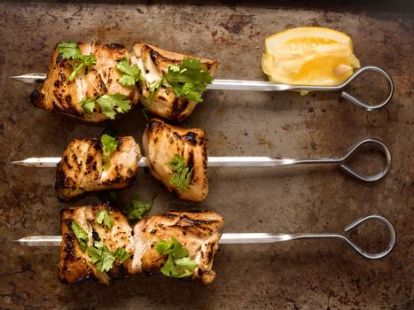 barbecued chicken skewer