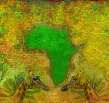 grunge background with continent of africa