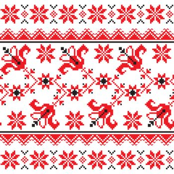 Ukrainian, Slavic Traditional folk knitted red emboidery pattern