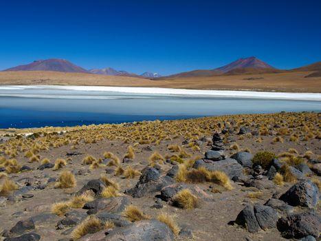 Blue lagoon of Altiplano in Bolivia