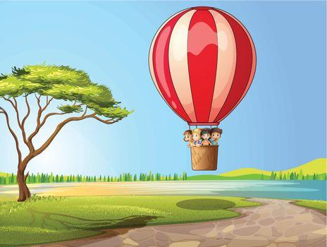 Kids in a air balloon