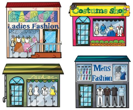 Illustration of a fashion shop on a white background