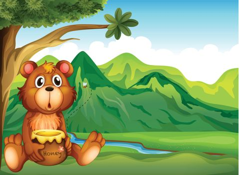A bear in the riverbank