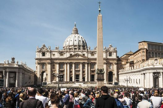 ROME - MARCH 30: view of the St. Peter's church during the sunday Angelus on March 30, 2014 in Rome