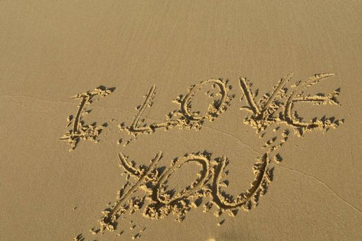 i love you on the sand at the beach