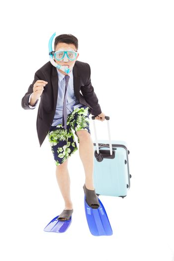 amusing businessman running pose and carrying baggage