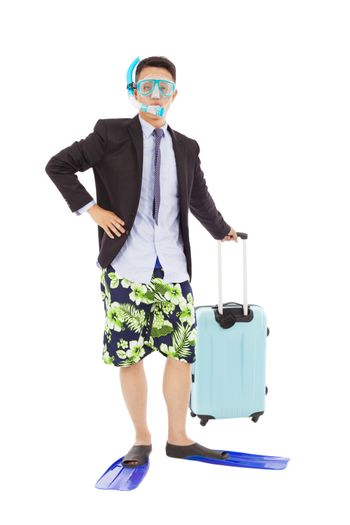 businessman standing and holding a  baggage