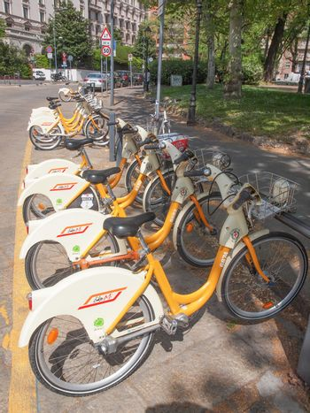 MILAN, ITALY - APRIL 10, 2014: A docking station for the cycle hire network