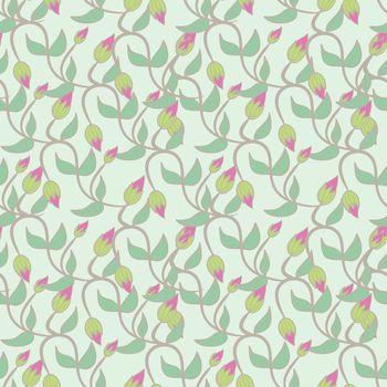 flower bud leaves seamless