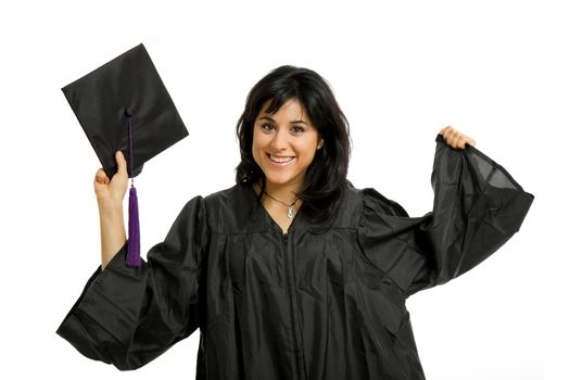 happy young woman on graduation day, isolated on white