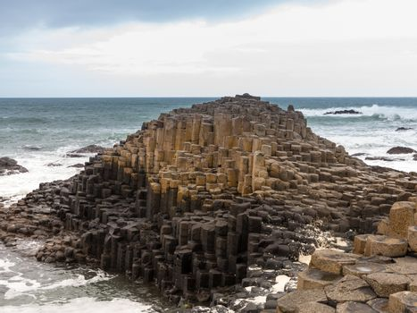 Unusual geology at Giants Causeway Ireland