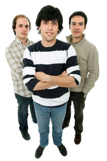 three young casual men full body, isolated on white
