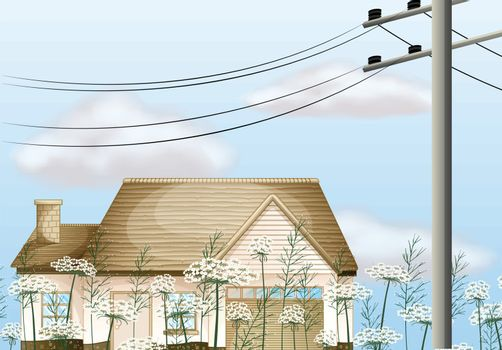 Illustration of a house near the electrical post