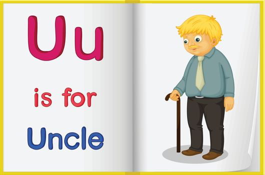 A picture of an uncle in a book