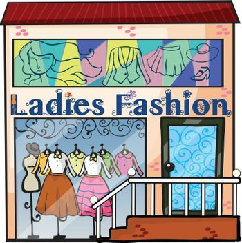 Illustration of a ladies fashion store on a white background