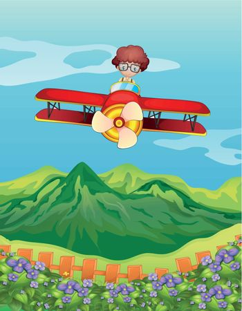 Illustration of a boy and an airplane in a beautiful nature
