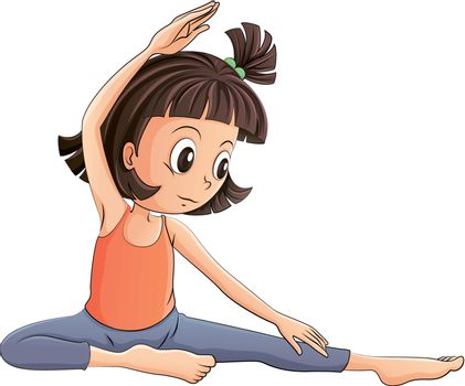 Illustration of a girl doing yoga on a white background