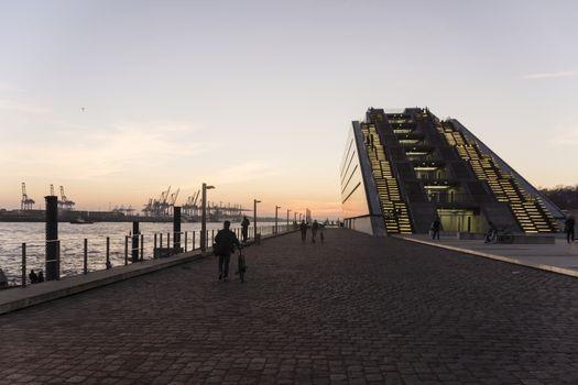 Sunset at the Docklands in Hamburg Altona Altstadt