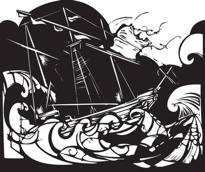 Woodcut style image of a sailing ship in stormy seas.