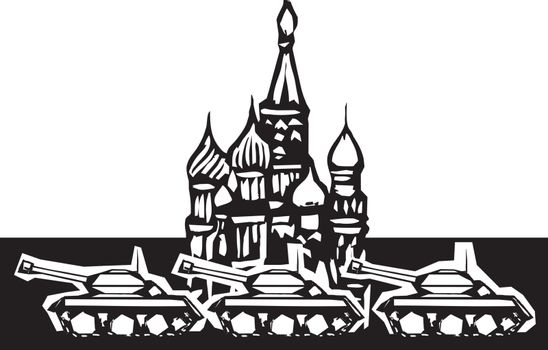 Woodcut style image of Russian tanks rolling in front of the Kremlin in Red Square