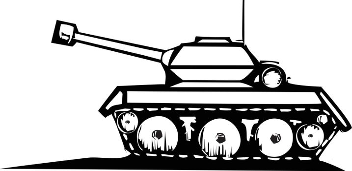 Woodcut style image of a military tank.