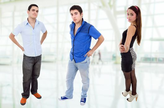 three young casual teenagers, full body picture