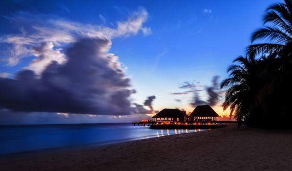Tranquil night over beach resort