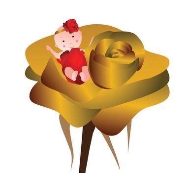 Sleeping newborn baby girl with rose