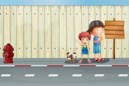 Illustration of boys with their pets in the street