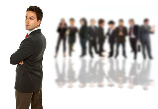 young business man in front of a group of people