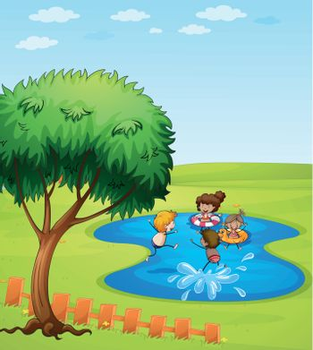 Illustration of happy people enjoying the water