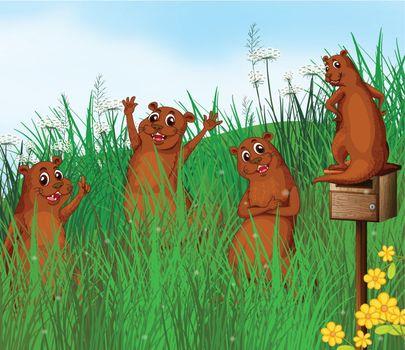 Illustration of wild animals near the hills