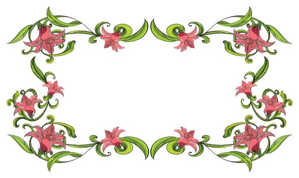 Illustration of a flowery border on a white background