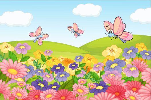 A flying butterflies