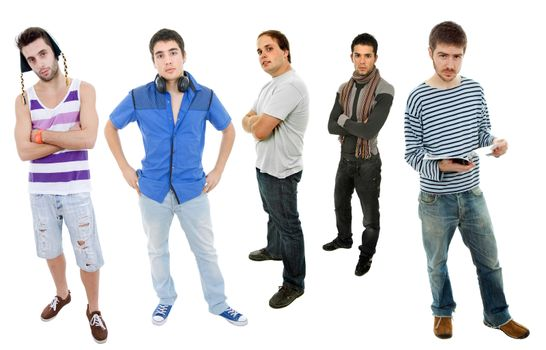 group of young men full body, isolated