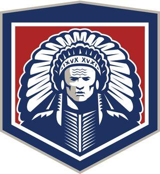 Native American Chief Shield Retro