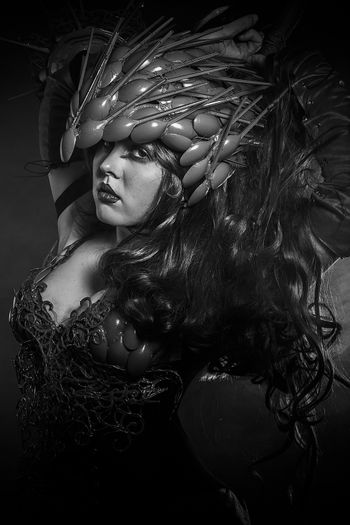Steampunk, beautiful woman dressed in red armor dragon scales