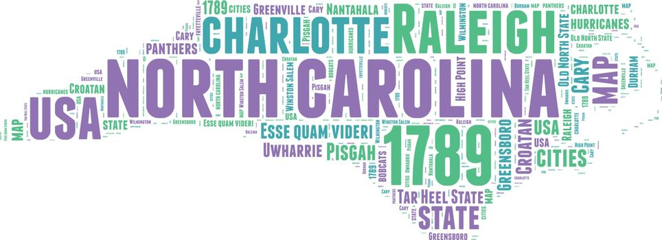 North Carolina USA state map vector tag cloud illustration