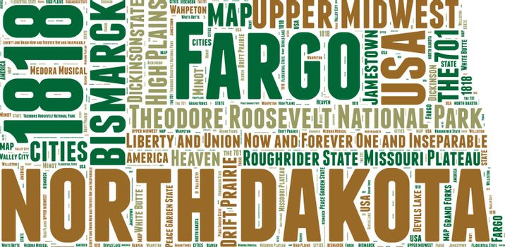 North Dakota USA state map vector tag cloud illustration