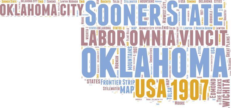 Oklahoma USA state map vector tag cloud illustration