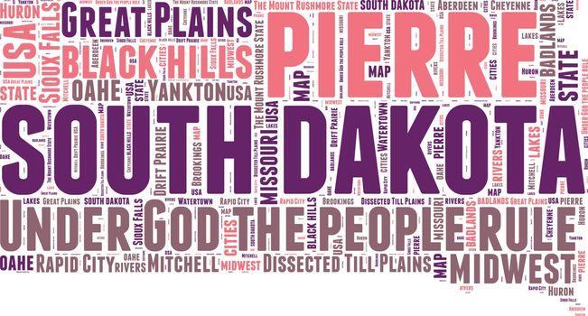 South Dakota USA state map tag cloud vector illustration