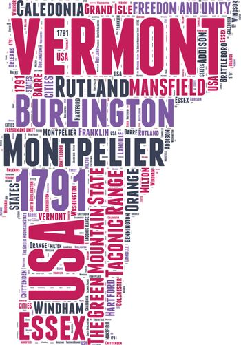 Vermont USA state map vector tag cloud illustration