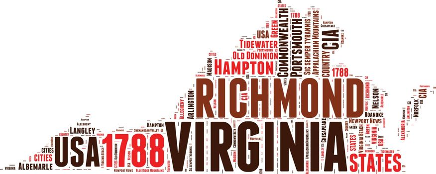 Virginia USA state map vector tag cloud illustration